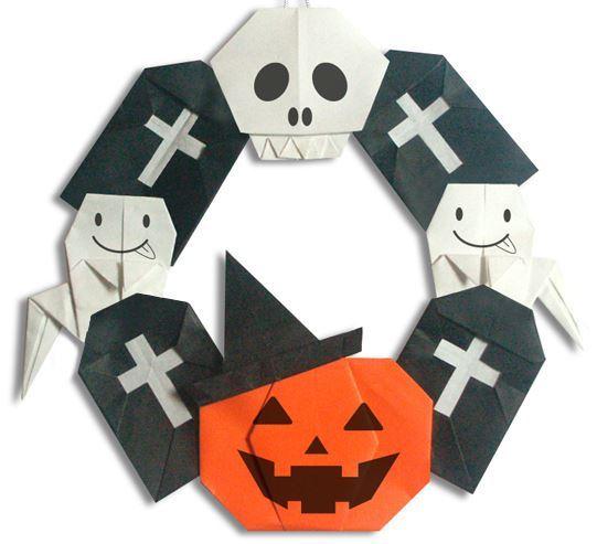 ハロウィン用飾り付け折り紙リースhalloween origami weath