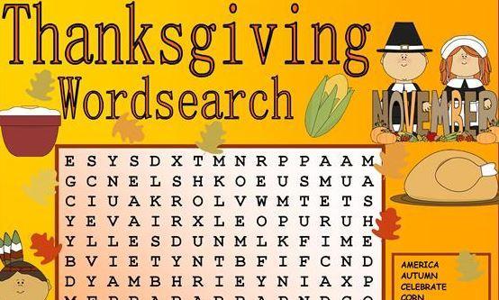 サンクスギビングデーワードサーチ Thanksgiving worksheet3