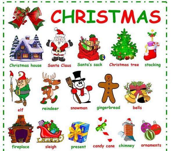 クリスマス英単語イラスト付きプリントChristmas vocabulary