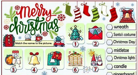 クリスマス英単語ワークシートVOCABULARY - CHRISTMAS TIME