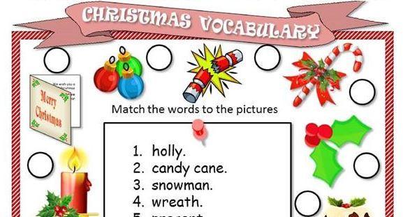 クリスマス英単語ワークシートChristmas vocabulary ws