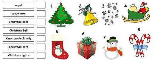 クリスマス英単語ワークシートVocabulary Matching Worksheet