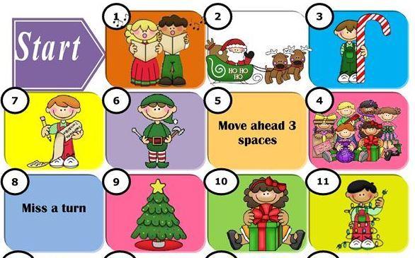 クリスマス英単語学習用無料スゴロク台紙Christmas words boardgames