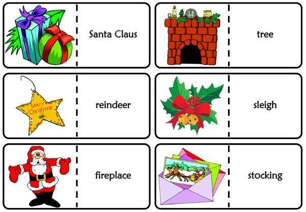 クリスマス英単語学習ドミノゲームChristmas vocabulary dominoes