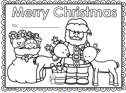 簡単色塗りクリスマスカードテンプレートcolouring christmas card1