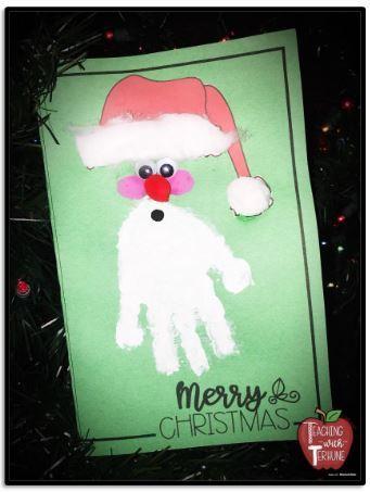 手形を利用したクリスマスカードテンプレートChristmas card5