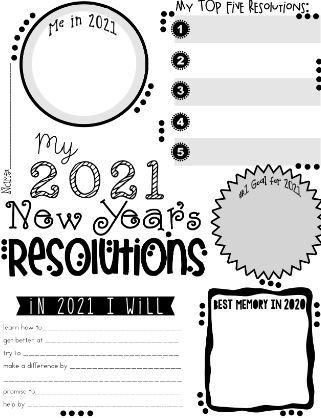 新年の抱負英作文テンプレートNewYear's resolution worksheet13
