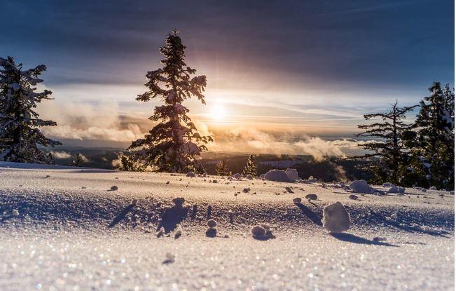 beautiful morning in winter