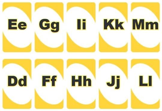英語アルファベットUNOカード黄色alphabet uno cards2