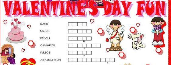 バレンタインデー英単語ワークシート5