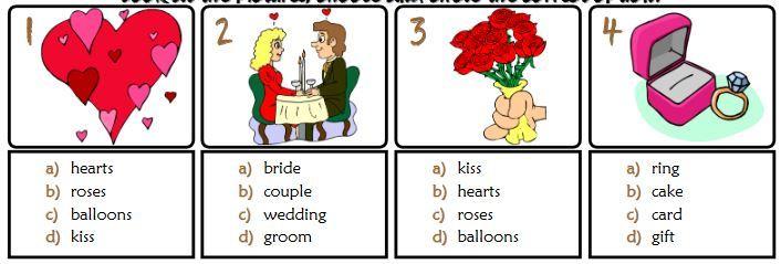 バレンタインデー英単語ワークシート2