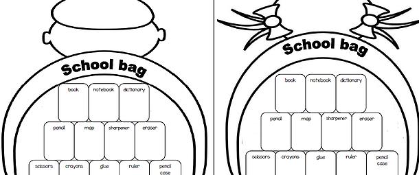 文房具英単語学習用プリントschoolbag