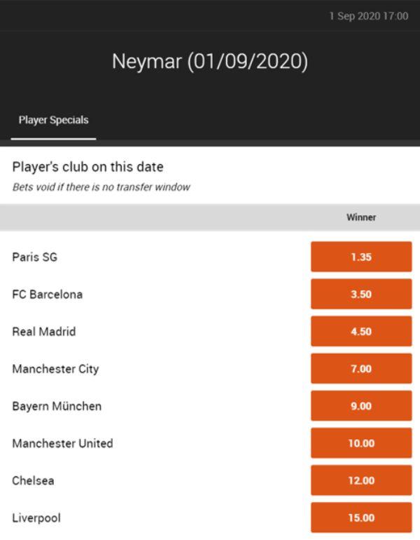 Neymar odds