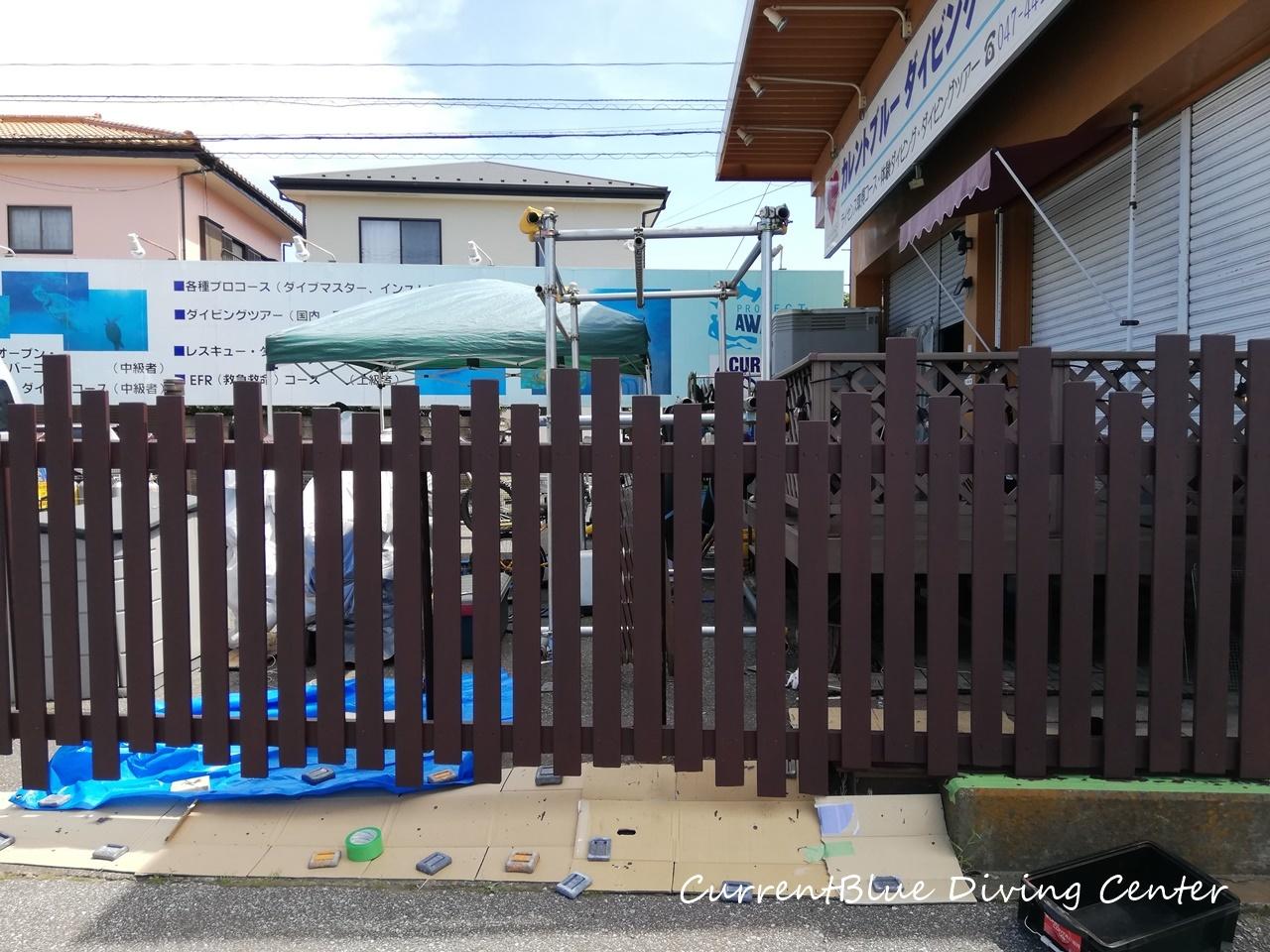 店舗改装柵塗装ちびっこガンバった! (5)