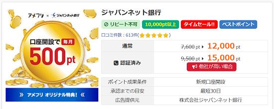 アメフリ ジャパンネット銀行案件