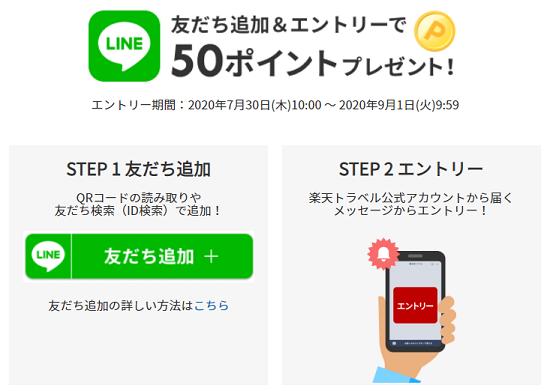 楽天トラベル公式LINEアカウントキャンペーン