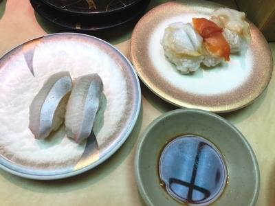 190730天下寿司大久保店カンパチ125円、貝3種185円