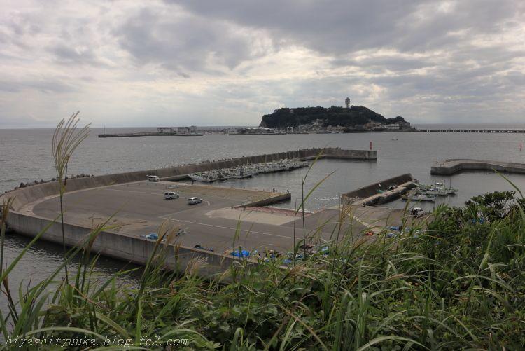 IMG_0392 腰越漁港越しの江の島SN
