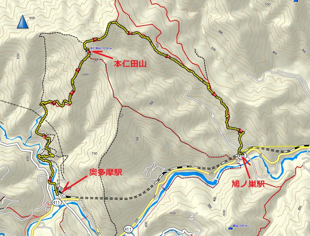 本仁田山/地図