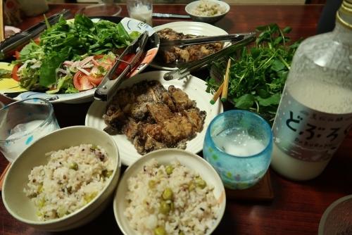 鶏竜田揚げ、豆ご飯、クレソン、ルッコラサラダ、どぶろく