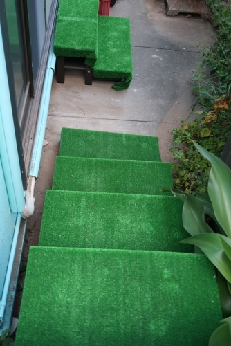 階段に人工芝