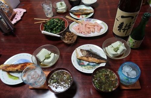 塩鮭、味噌汁、枝豆豆腐、岩下の新生姜