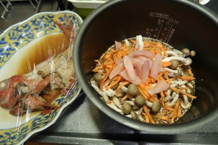 キンメダイの煮付け煮汁の炊き込みご飯