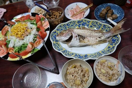 鯛の塩焼き、栗ご飯、岩下の新生姜、ツナコーンサラダ