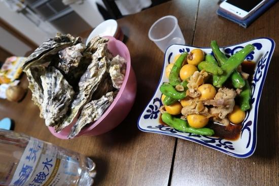 蒸し牡蠣とキンカン