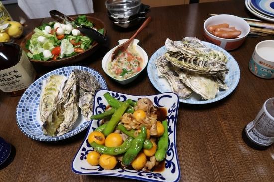蒸し牡蠣とキンカン、モッツレラチーズのサラダ