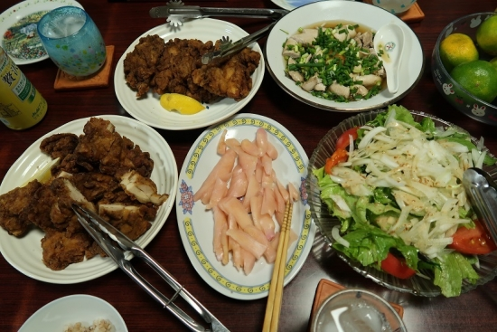 東照温泉のとりから、岩下の新生姜、鮭の白子ポン酢、サラダ