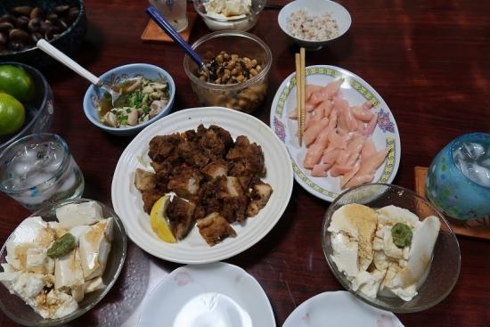 とりから、岩下の新生姜、鮭の白子ポン酢、よせ豆腐