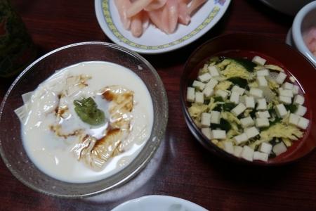 刺身湯葉、かき玉スープ、岩下の新生姜