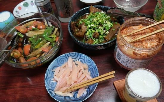 ソーキと大根煮物、岩下の新生姜、夏野菜の揚げびたし