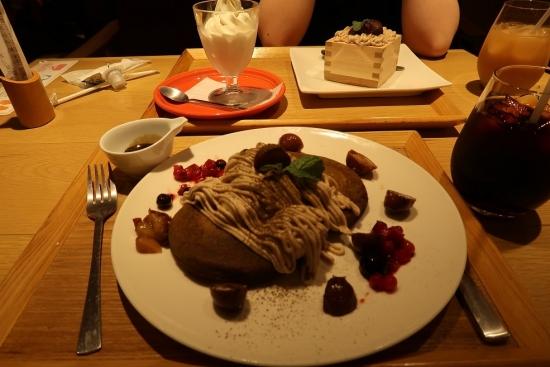 渋皮栗とほうじ茶のパンケーキ