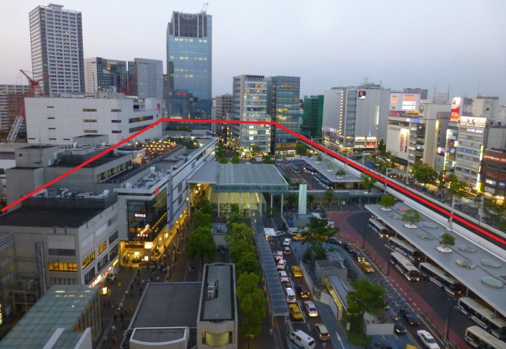 ルフロンから見下ろす川崎駅東口、レイアウトサイズ追記
