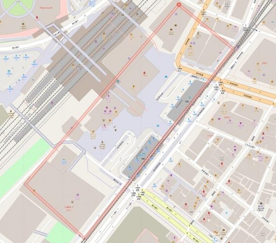 川崎駅東口にレイアウトサイズを当てはめる