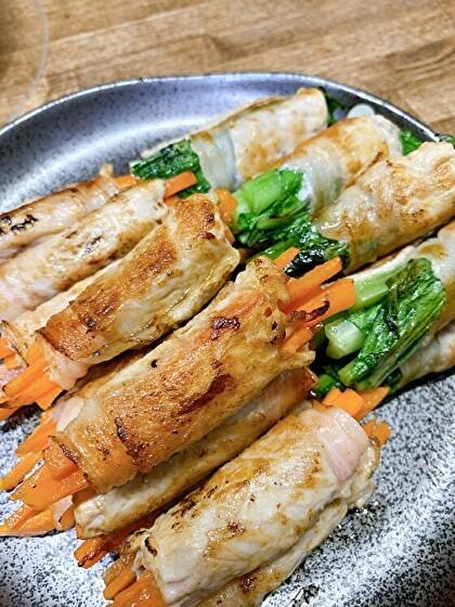 人参と小松菜の肉巻き