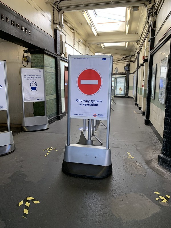 One way at a Tube station