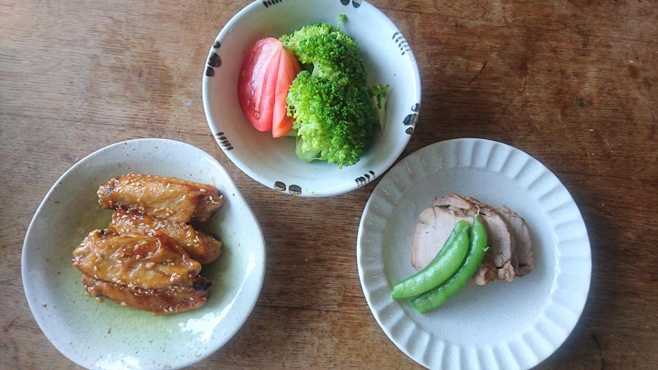 手羽、野菜の黄身酢、豚チャーシュー