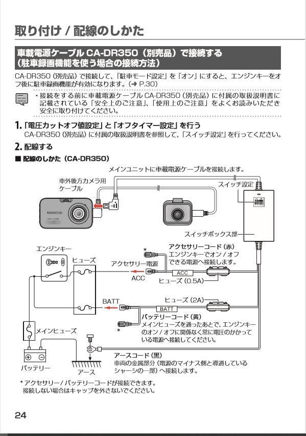 別売りケーブル CA-DR350で接続する