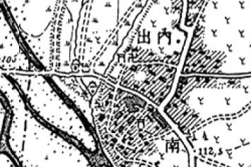 01 内出周辺の明治時代地図(二万分の一「拝島」明治39年)