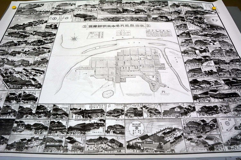 秋田縣能代湊市街明細繪図 明治廿八年9月印刷その1