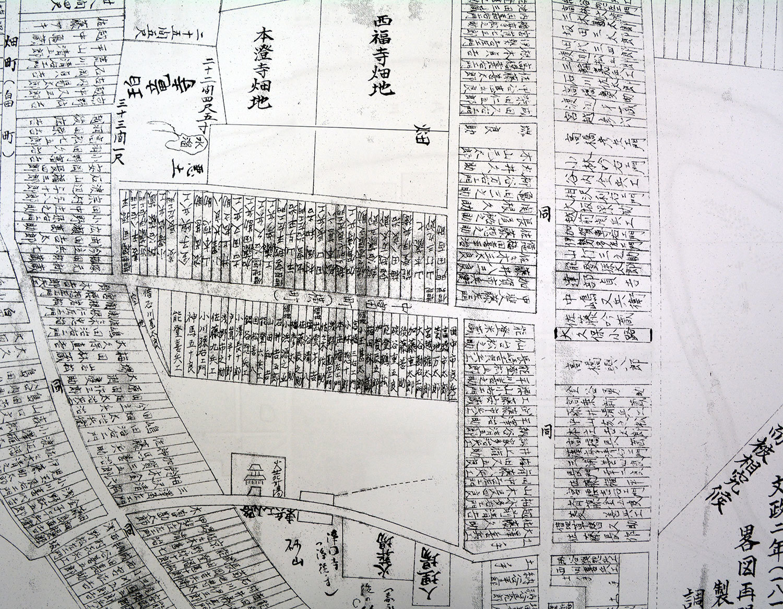 富町家屋調略図(1819年)・畠町絵図面地價帳地引区分(1884年)等の畧図再現1