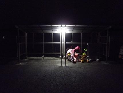 ブログ用200629フルール駐輪場照明器具接続夜間
