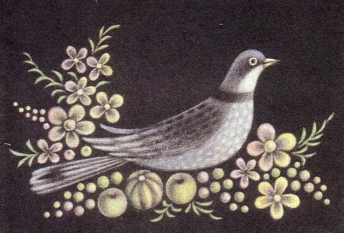 長谷川潔 「小鳥と花と果物」