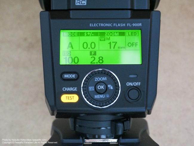 オリンパス エレクトロニックフラッシュ FL-900R コントロールパネルとボタン