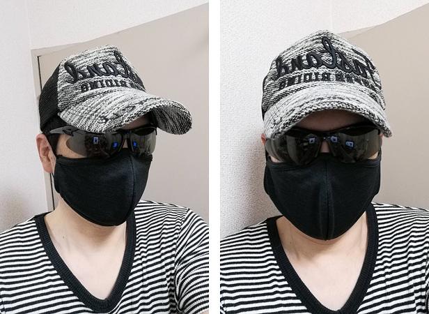 パールイズミの洗える布マスク(ブラック)レビュー着用例