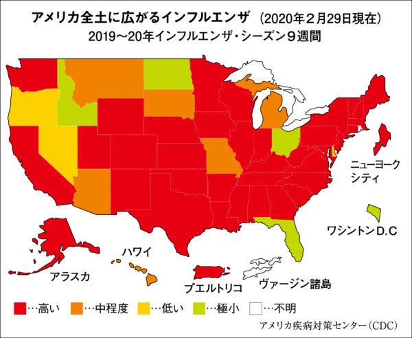 アメリカ全土に広がるインフルエンザ