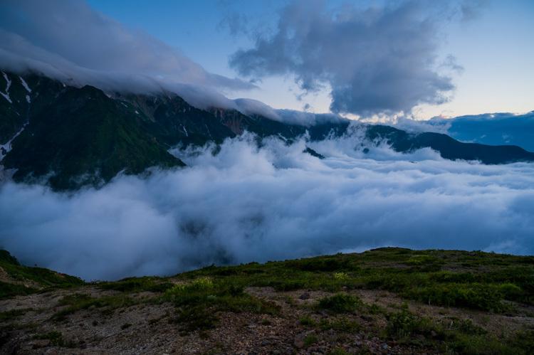 唐松岳 八方池 雲海 夜明け